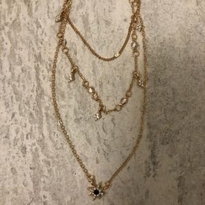 Three tiered gold necklace
